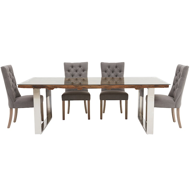 Columbus 220cm Dining Table Amp 4 Rufus Chairs Sterling